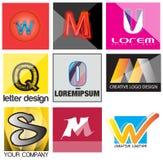 Verschiedene Buchstaben Logo Set Signs Lizenzfreies Stockfoto