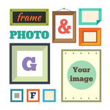 Verschiedene bunte Fotorahmen Stockfotografie