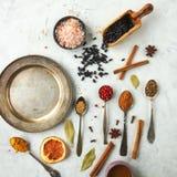 Verschiedene bunte indische Gewürze und Kräuter in den silbernen Löffeln auf weißem Hintergrund Lizenzfreie Stockfotos