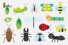 Verschiedene bunte Insektenbilder für Kinder, Spaßausbildungsspiel für Kinder, Vorschultätigkeit, Satz Aufkleber, Vektor illustr lizenzfreie abbildung
