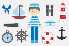 Verschiedene bunte Marinebilder für Kinder, Spaßausbildungsspiel für Kinder, Vorschultätigkeit, Satz Aufkleber, Vektor stock abbildung