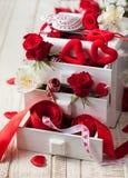 Verschiedene Dekorationen für Valentinstag Lizenzfreie Stockbilder