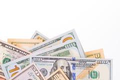 Verschiedene Dollarscheine Stockfotografie