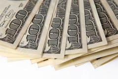 Verschiedene Dollarscheine schließen oben Stockbild