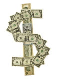 Verschiedene Dollarscheine stimmten überein, um das Dollarsymbol zu formen Lizenzfreie Stockbilder
