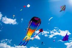 Verschiedene Drachen, die auf den Himmel fliegen Stockfoto