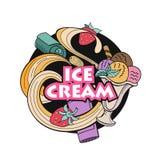 Verschiedene Eiscreme mit Frucht, Nüssen und Belag Hand gezeichnet stock abbildung