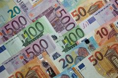 Verschiedene Eurobanknoten Stockfoto