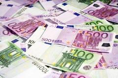 Verschiedene Eurobanknoten stockbilder