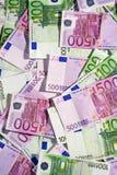 Verschiedene Eurobanknoten (Draufsicht) Stockfotografie