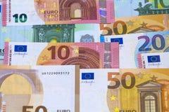 Verschiedene Eurogeldbanknoten für Verwendung als Hintergrund Lizenzfreie Stockbilder