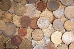 Verschiedene Euromünzen Stockbild