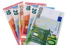 Verschiedene Euros lokalisiert auf Weiß Stockfotos