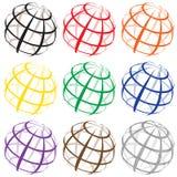 Verschiedene Farbdraht-Weltlogos Lizenzfreies Stockfoto