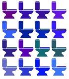 Verschiedene Farben der Ikonen-Toilette raster Stockfotos