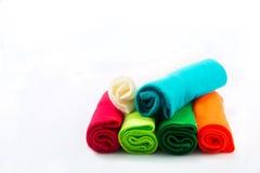 Verschiedene Farben des Flanells Stockfotografie