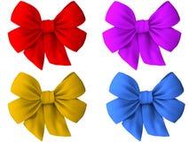 4 verschiedene farbige Bögen Stoff Stockfotos