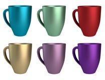 Verschiedene farbige Becher 3D Lizenzfreie Stockfotos
