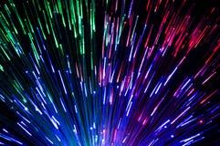 Verschiedene farbige Laserstrahlen schaffen schöne Lichteffekte Lizenzfreies Stockbild