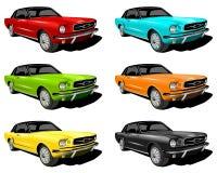 Verschiedene farbige Mustangs Stockfoto