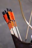Verschiedene farbige Pfeile im Beben als Hintergrund Stockbild