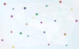 Verschiedene farbige Punkte schlossen an Dreieckform, Verbindung an, Stockfotos