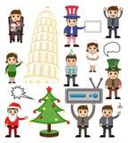 Verschiedene Feiertags-und Geschäfts-Karikatur-Völker vektor abbildung