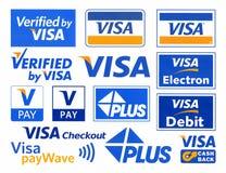 Verschiedene Firmenzeichen von Zahlungssystem VISUM