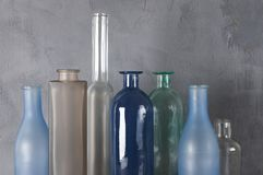 Verschiedene Flaschen eingestellt stockbilder