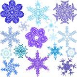 Verschiedene Formen, Größen und Farben von Schneeflocken Lizenzfreie Stockbilder