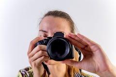 Verschiedene Fotografhaltungen: Verbiegen, Hocken, hinlegend stockfotografie