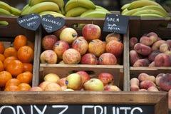 Verschiedene Früchte für Verkauf am Stadtmarkt Stockfotos