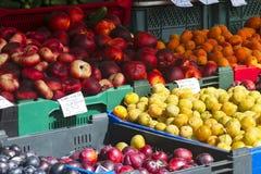 Verschiedene Früchte im Regal im Markt Stockbilder