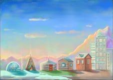 Verschiedene Gebäude, Sonnenuntergang, Himmel und Berge Stock Abbildung