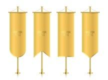 Verschiedene geformte goldene vertikale Fahnenflaggen Lizenzfreies Stockbild