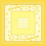 Verschiedene gelbe Quadrate mit Blumen und Flourish Stockbild