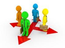 Verschiedene Geschäftsmänner auf verschiedenen Wegen Lizenzfreies Stockfoto