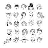 Verschiedene Gesichter Handzeichnung lokalisierte Gegenstände auf weißem Hintergrund Stockbilder