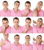 Verschiedene Gesichtsausdrücke des männlichen Portraits Stockfotos