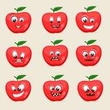 Verschiedene Gesichtsausdrücke mit Apfel Stockfoto