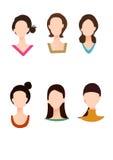 Verschiedene Gesichtsform und Kleidkragen Stockbilder