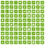 100 verschiedene Gestenikonen stellten Schmutzgrün ein Lizenzfreie Stockfotos