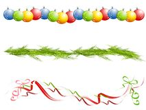Verschiedene getrennte Weihnachtsränder Lizenzfreie Stockfotos