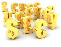 Verschiedene Goldlandeswährung-Symbole Stockbild