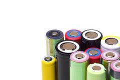 Verschiedene Größen von Lithium-Ionen-Batterien stockbilder