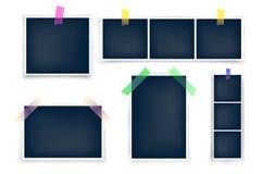 Verschiedene Größenfoto-Rahmenschablonen mit Aufklebern vektor abbildung
