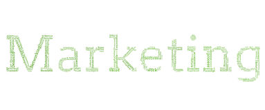 Verschiedene grüne Wörter, die heraus vermarkten buchstabieren Stockfotos