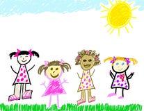 Verschiedene Gruppe kleine Mädchen Stockfotos