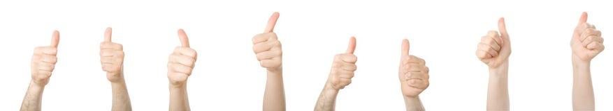 Verschiedene Hände mit den Daumen oben Stockfotografie