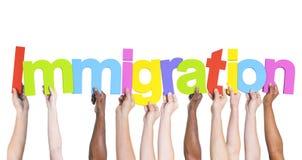 Verschiedene Hände, welche die Wort-Immigration halten stockbild